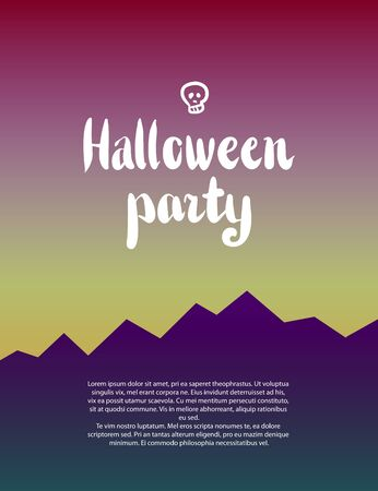 31st: Halloween background. Design element for October 31st poster or invitation card. Scary mountain landscape with lettering and skull Stock Photo