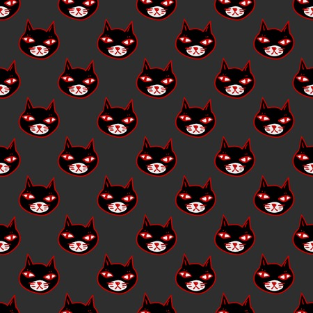 moggy: Black cat with red eyes, witches and witchcraft symbol. Halloween seamless pattern