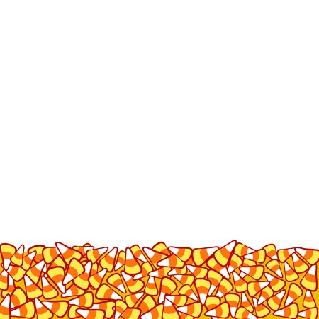 october 31: Candy corn border, isolated on white. Halloween  frame. Hand drawn sketchy background, October 31 design element for halloween party invitation card Illustration
