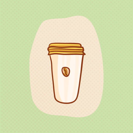 Paper cup with coffee. sketchy clipart. Vector design element. Sketch for flyer, banner, ad, package, poster. Hand drawn paper cup of Coffee with bean