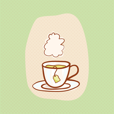 teahouse: Tea sketchy vector clipart with vapor cloud. Vector hot tea design element and teabag. Sketch for flyer banner, ad, package, poster. Hand drawn mug, vector icon for teahouse Illustration