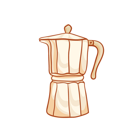 snug: Coffee maker sketchy vector clip-art, isolated on white. Vector design element. Moka pot sketch for coffee house ad, package, poster. Hand drawn coffeemaker vector icon