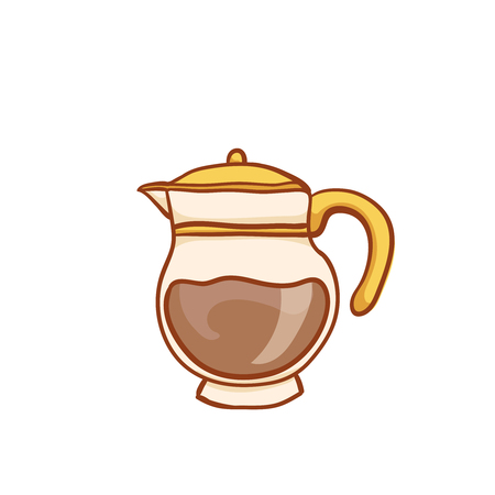 Coffee glass pot sketchy clip art, isolated on white. Vector design element. Sketch for flyer, banner, ad, package. Hand drawn cup of hot Coffee with halftone icon Illustration