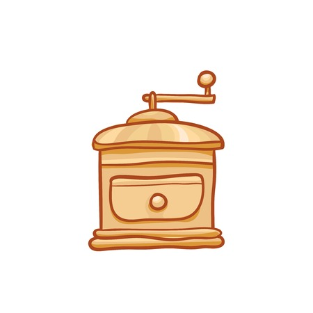 Coffee quern sketchy vector clipart. Vector grinder design element. Sketch for ad, package. Hand drawn manual mill icon, isolated on white Illustration