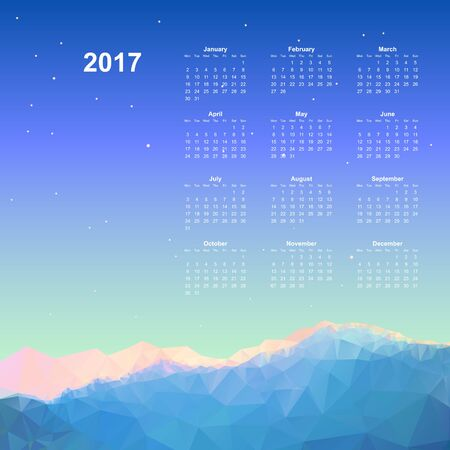 Calendar page, 2017 year, vector template. Week starts at Monday. Poster with mountain background Illustration