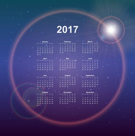 date night: Calendar page, 2017 year, vector template. Week starts at Monday. Poster with night sky background