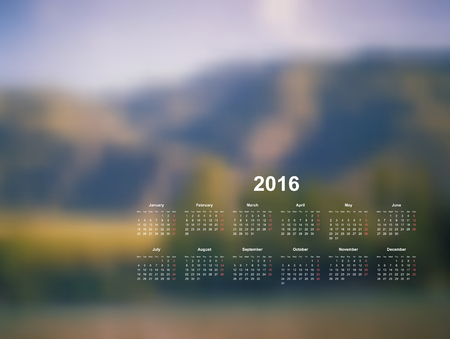 Vector calendar template. 2016 year. Blurred nature background. Week starts on Monday