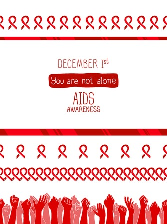 World AIDS Day, 1st December, vector poster template. Red ribbon, hand drawn design element with seamless side border. Isolated on white. You are not alone Illustration