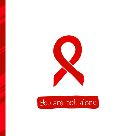 aids awareness ribbon: World AIDS Day, 1st December, vector poster template. Red ribbon, hand drawn design element with seamless side border. Isolated on white. You are not alone Illustration