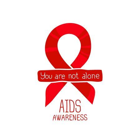 aids virus: World AIDS Day, 1st December, vector poster template. Red ribbon, hand drawn design element. Isolated on white