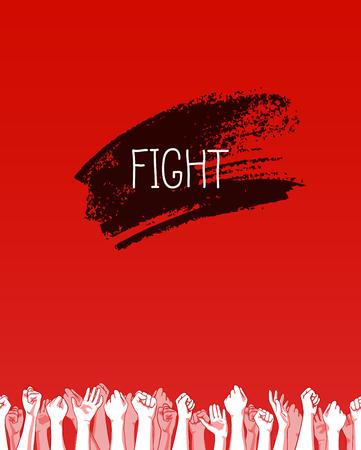 Journée mondiale du sida, 1er décembre, modèle d'affiche de vecteur. Ruban rouge, élément de dessinés à la main. Bats toi Vecteurs
