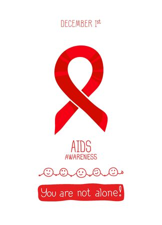 World AIDS Day, 1st December, vector poster template. Red ribbon, hand drawn design element. Isolated on white