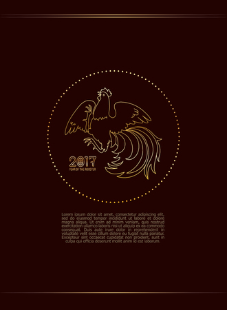 2017, the Year of the Fire Rooster in Chinese Horoscope. Brown and gold colors, symbol of new year. Fire element. Hand drawn clip-art, illustration. Vector design element for greeting card or poster Illustration