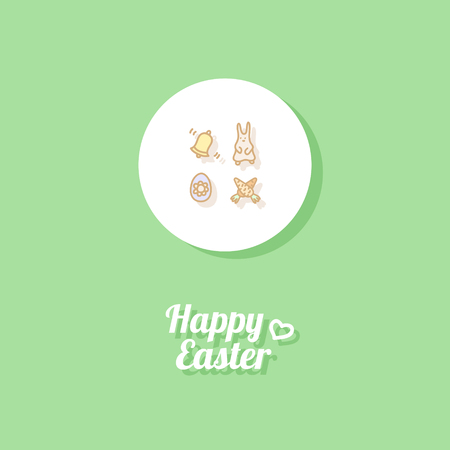 Happy Easter. Greeting card or banner template with hand drawn egg icon, easter rabbit, ringing bell and carrots. Bright green background