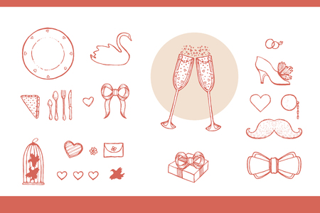 matrimonial: Design elements for wedding and honeymoon. Could be used in greeting card, wedding invitation, poster design, etc. Vintage style, hand drawn pen and ink