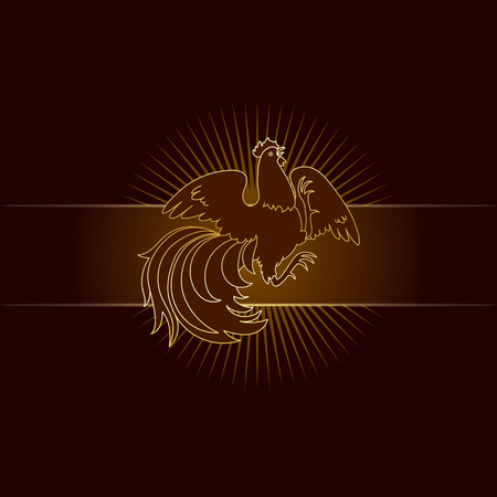 2017, the Year of the Fire Rooster in Chinese Horoscope. Brown and gold colors, symbol of new year. Fire element. Hand drawn clip-art, illustration. Vector design element for greeting card or poster Ilustração
