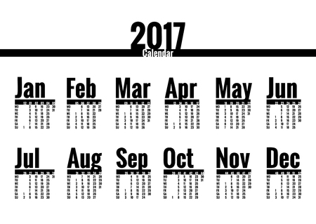 Calendar vector template for 2017 year. Week starts on Monday. Plain Calender with week numbers, isolated on white. Year on one page, suitable for poster or pocket calendar Illustration