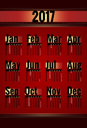mon 12: Calendar vector template for 2017 year. Week starts on Monday. Calender with week numbers. Year on one page, suitable for poster or pocket calendar. Red, gold and black color
