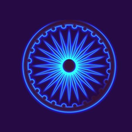 Dharmachakra, Dharma wheel and glow light effect. Buddhist symbol