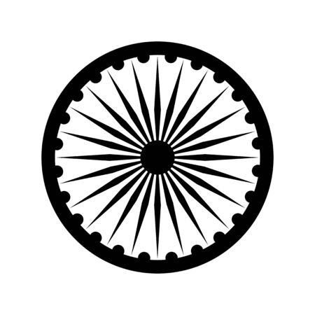wheel of dharma: Dharma wheel, detail of Indian national flag. Black vector design element, isolated on white Illustration