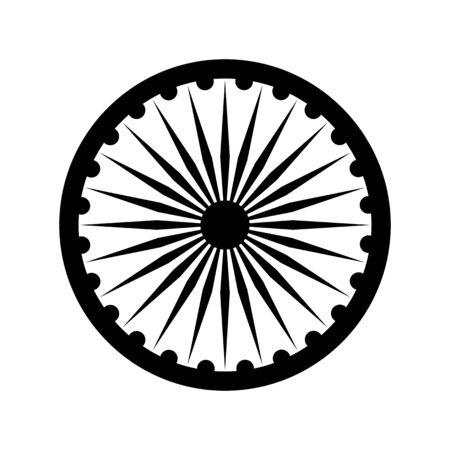 Dharma wheel, detail of Indian national flag. Black vector design element, isolated on white Illustration