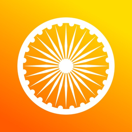 Dharma wheel, element of Indian national flag. Deep saffron and white colors. Illustration