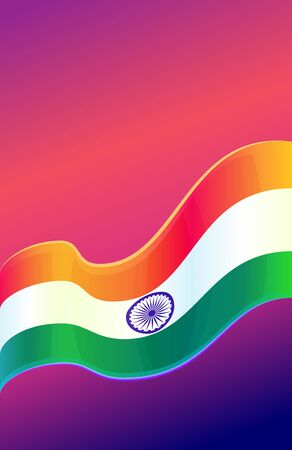 15: Republic Day in India, 26 January. Vector design element, background with Indian national flag