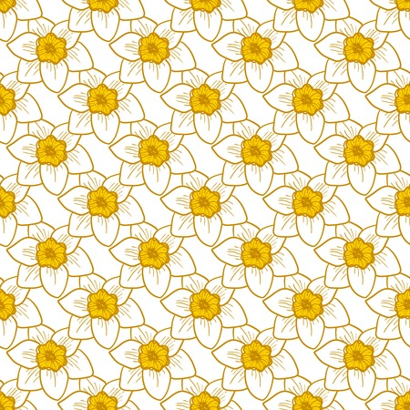 Narcissus flowers seamless pattern, hand drawn tileable vector background.