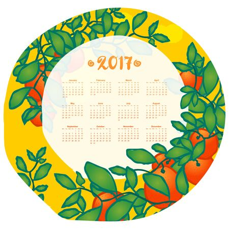 Calendar for 2017 year, week starts on Monday. Branches of mandarin orange fruits. Hand drawn sketchy cartoon illustration, template. Tangerines with leaves