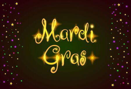 Mardi Gras vector design element, Fat Tusday poster or party invitation template. Dark green background with border