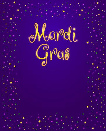 マルディグラのベクター デザイン要素、脂肪 Tusday ポスターまたはパーティー招待状のテンプレートです。紫色の背景に輝く星とビーズのフレーム