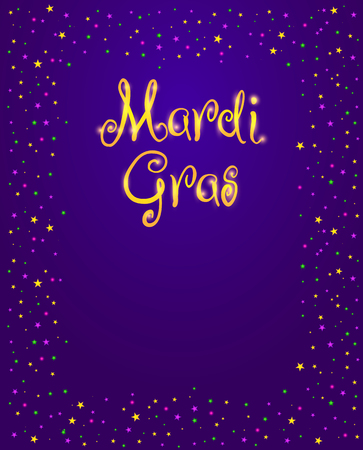Mardi Gras vector design element, Fat Tusday poster or party invitation template. Frame of shining stars and beads on purple background Illustration