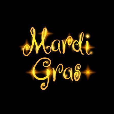 마디 그라 축제 벡터 디자인 요소, 블랙에 고립 된 지방 목요일 황금 텍스트. 포스터 또는 웹 배너에 적합