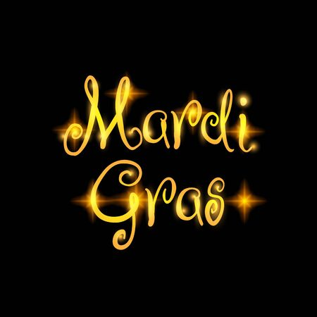 Mardi Gras festival vector design element, Fat Tusday golden text, isolated on black. Suitable for poster or web banner Illustration
