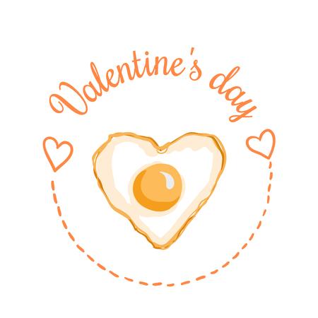 세인트 발렌타인 하루 벡터 디자인 요소입니다. 파티 초대장, 로맨틱 인사말 카드 또는 웹 배너에 적합합니다. 하트 모양의 튀긴 계란, 2 월 14 일 아침