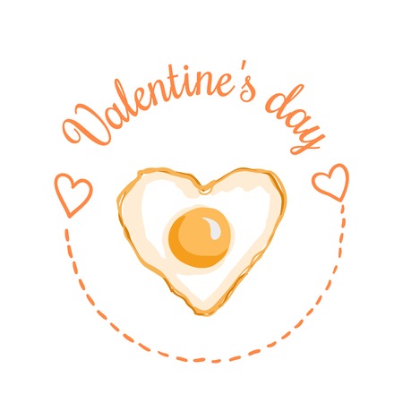 St Valentines day vector design element. Suitable for party invitation, romantic greeting card or web banner. Heart-Shaped Fried egg, February 14 Breakfast