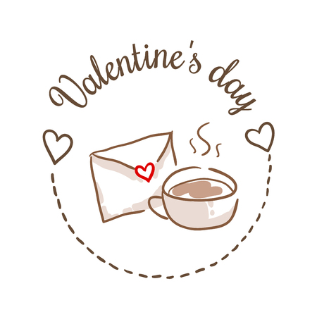 14: St Valentines day vector design element. Suitable for party invitation, romantic greeting card or web banner. February 14 Breakfast. Cup of coffee and love letter