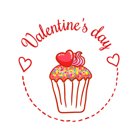 St Valentines day vector design element. Suitable for party invitation, romantic greeting card or web banner. Chocolate cupcake with confetti and heart on top Illustration