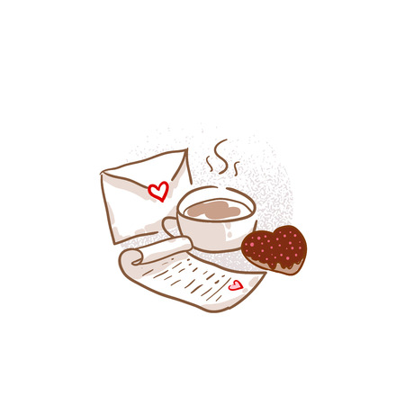 적합: St Valentines day vector design element. Suitable for party invitation, romantic greeting card or web banner. February 14 Breakfast. Cup of coffee, cookie and love letter 일러스트