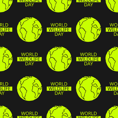 tillable: World Wildlife Day tillable background. Vector design element, seamless pattern with symbol of planet Earth. Illustration