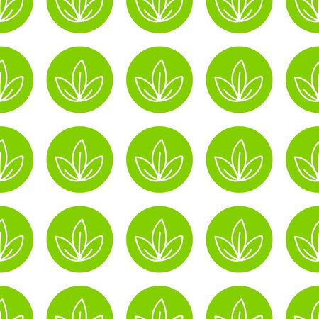 World Wildlife Day tileable background. Vector design element, seamless pattern with symbols of plants. Green leaves in circles on white