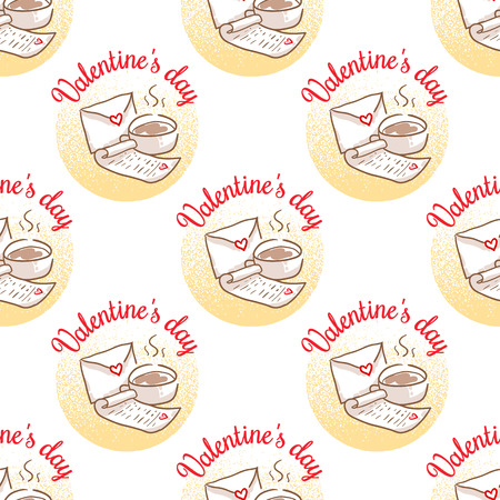 February 14, Valentines Day Breakfast illustration pattern. Cup of coffee and love letter