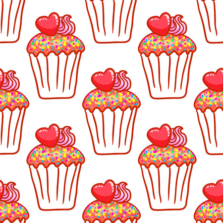 February 14, Valentines Day Breakfast seamless pattern. Chocolate cupcake with confetti and heart on top Illustration
