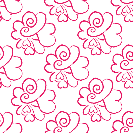 February 14, Valentines Day seamless pattern. Hand drawn heart vector