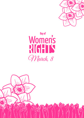 March 8 card or banner template. Historically, International Womens Day is the day of women's rights and emancipation