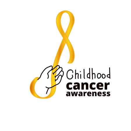 baby sick: International Childhood Cancer Day, design element. Golden ribbon is a symbol of childhood cancer