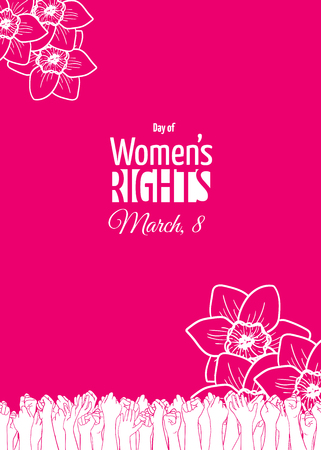 March 8 card or banner template. Historically, International Womens Day is the day of womens rights and emancipation