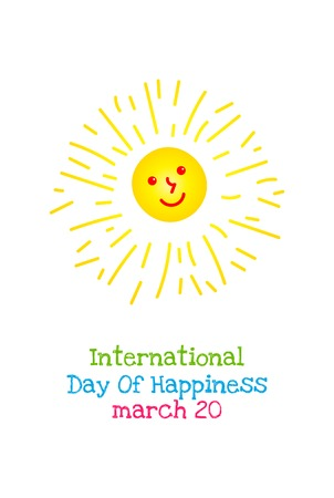 International Day of Happiness, March 20. Vector banner