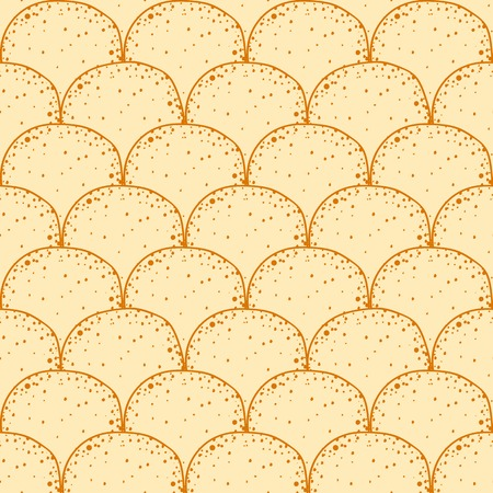 equinox: Russian holiday Maslenitsa. Pancake is a symbol of Shrovetide. Hand drawn seamless pattern, tileable background Stock Photo