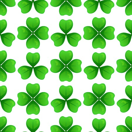 leafed: Green clover with three and four leaves. St Patricks Day seamless pattern. Vector tileable design element. Saint Patrick used three-leafed clover to teach the Trinity